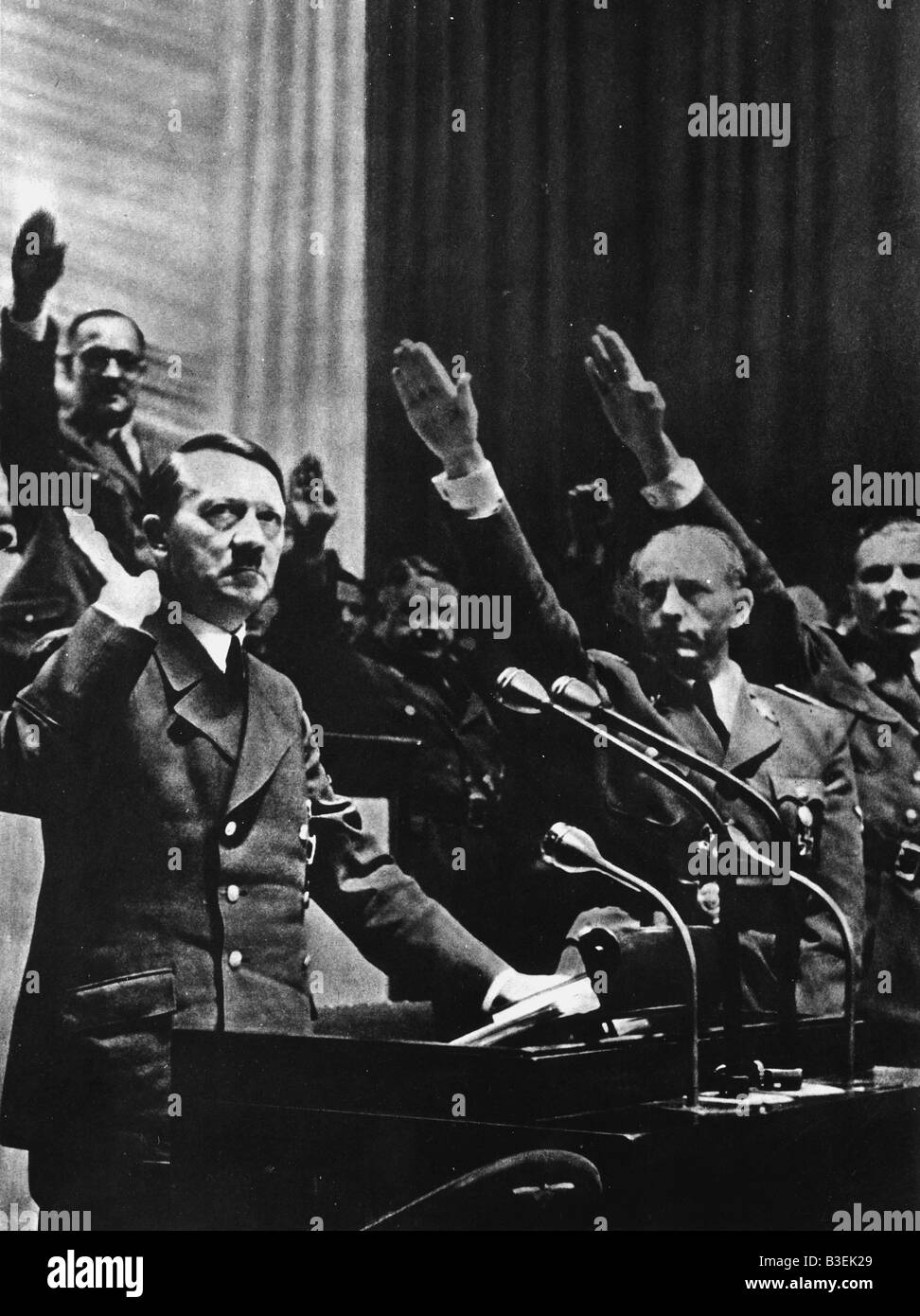 Hitler outside the Reichstag 11.12.1941 - Stock Image