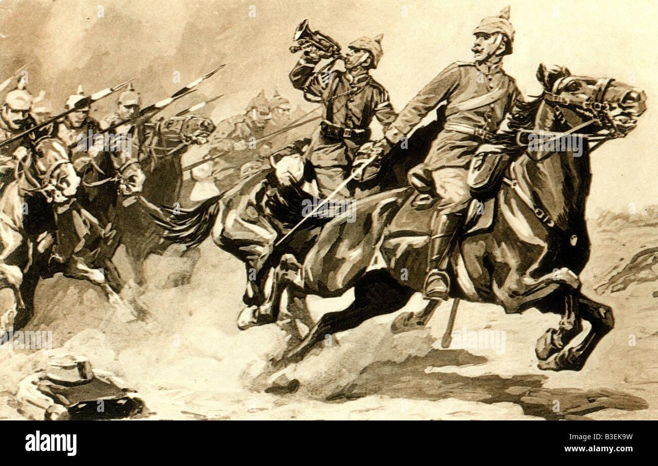 events, First World War / WWI, military postcards, postcard 'Attacke deutscher Dragoner in der Schlacht an der - Stock Image