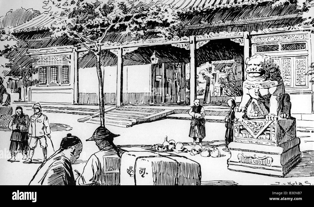 geography / travel, China, Boxer Rebellion 1900, British embassy, contemporary wood engraving, last refuge of European - Stock Image