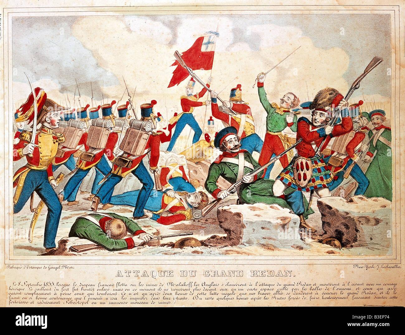 Crimean War 1853 - 1856, siege of Sevastopol 2.9.1854 - 9.9.1855, battle for the Redan 8.9.1855, coloured lithograph - Stock Image