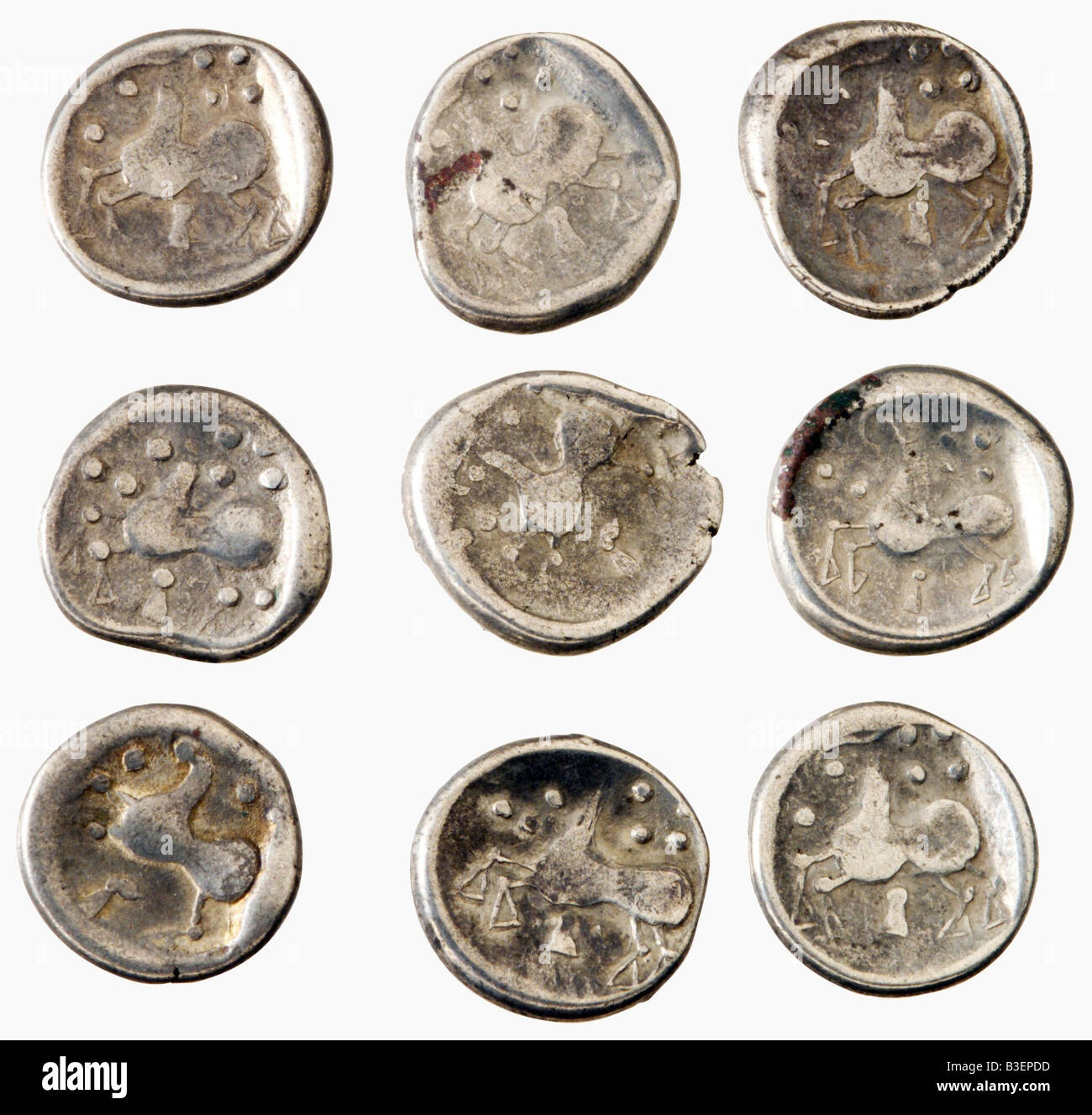 money, coins, ancient world, Celts, celtic silver coins of the Cotini, 3rd - 1st century BC, La Tene, coin, , Additional - Stock Image