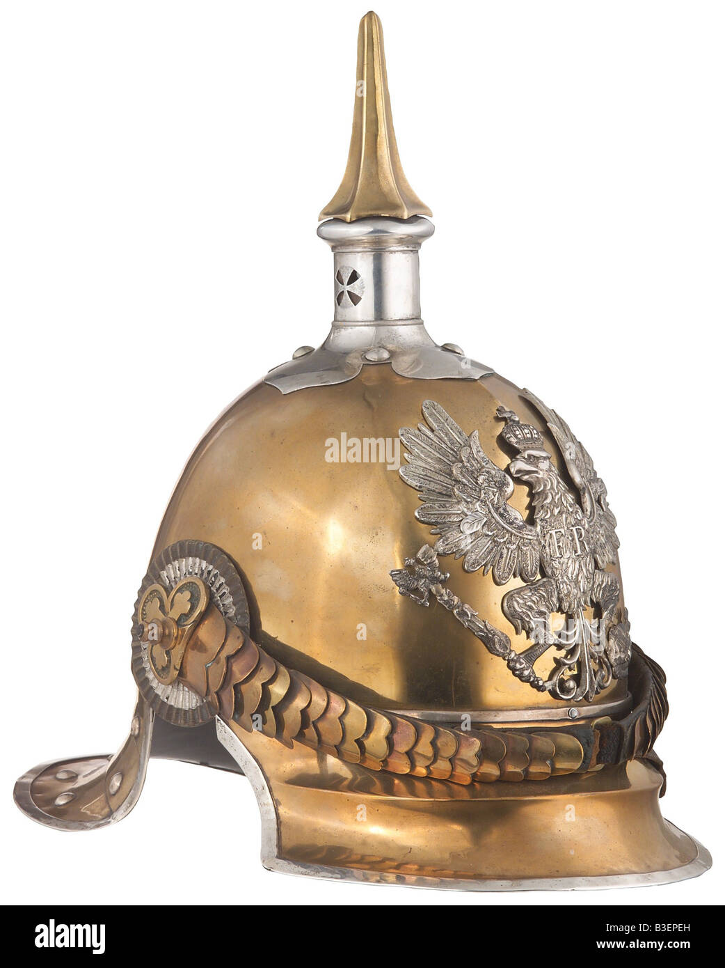 weapons/arms, protective weapons, helmets, metal helmet for officers, Prussian 6th Cuirassier Regiment, typ 1843, - Stock Image