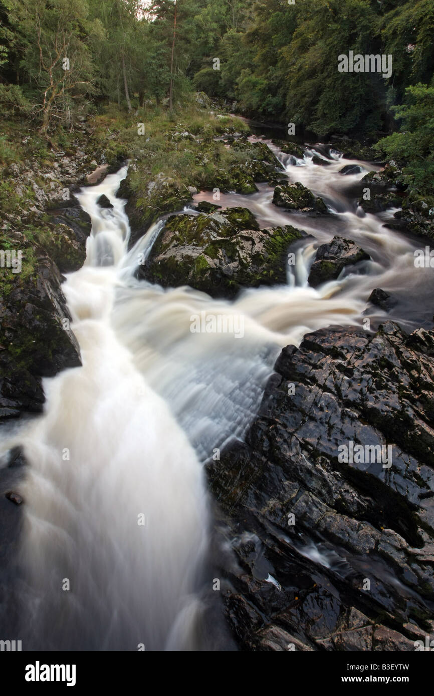 The waterfall on the River Feugh known as Falls of Feugh near Banchory, Aberdeenshire, Scotland UK where you can - Stock Image