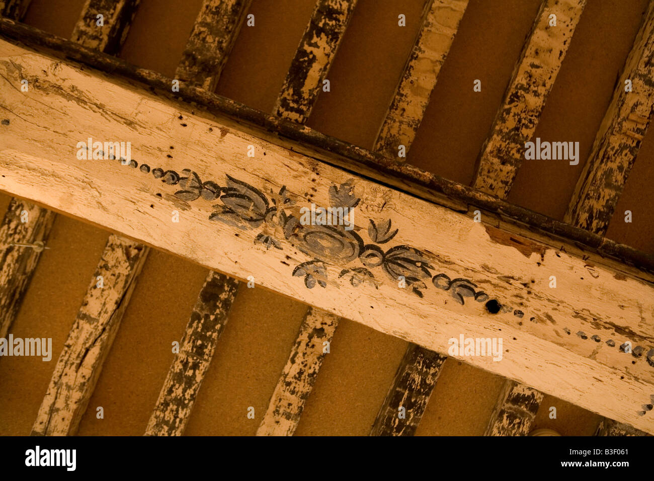 Old Wooden Beam With Decoration