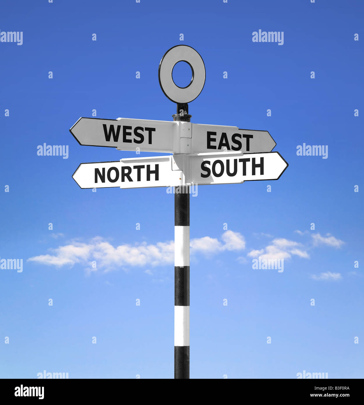 Direction signpost showing the compass points North South West and East against a bright blue sky - Stock Image