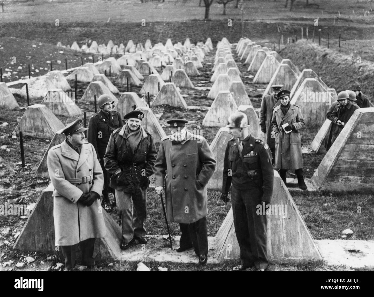 WW2/Churchill at Siegfried Line/1945. - Stock Image