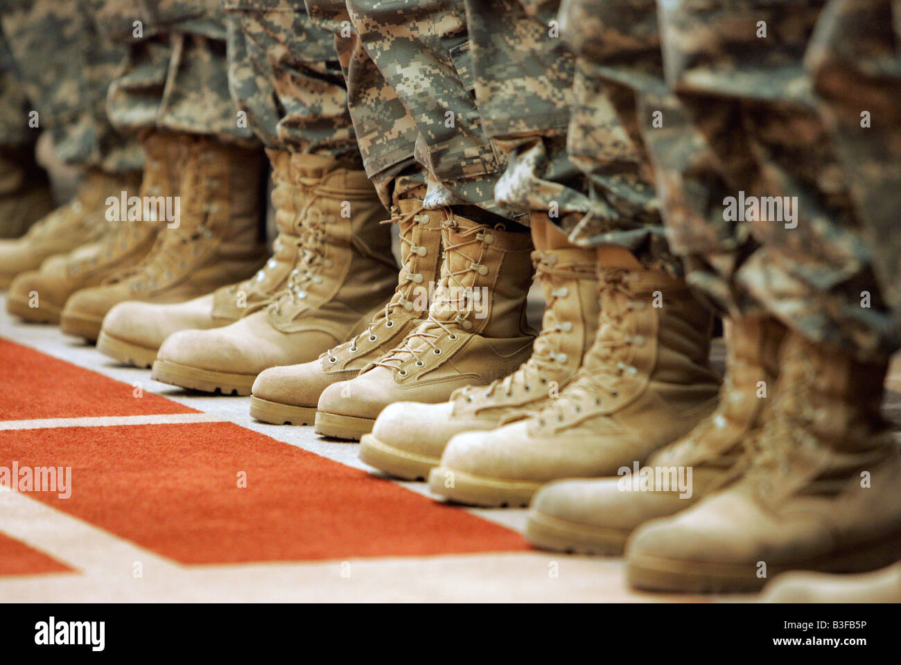 Military boots of Army National Guard soldiers in formation - Stock Image
