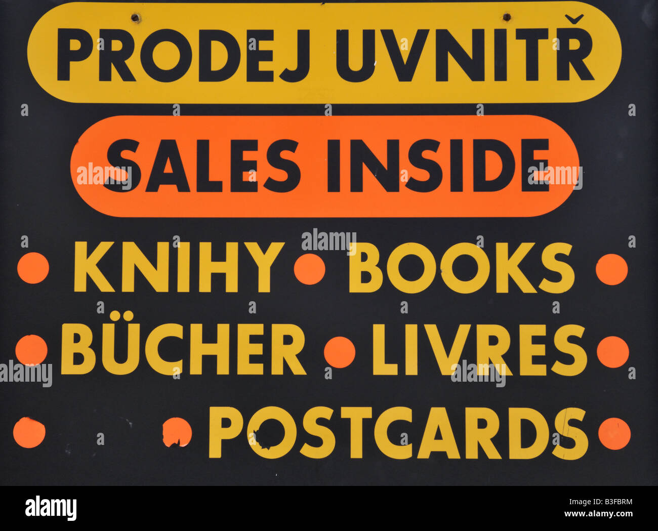 Czech bookshop sign in many languages - Stock Image