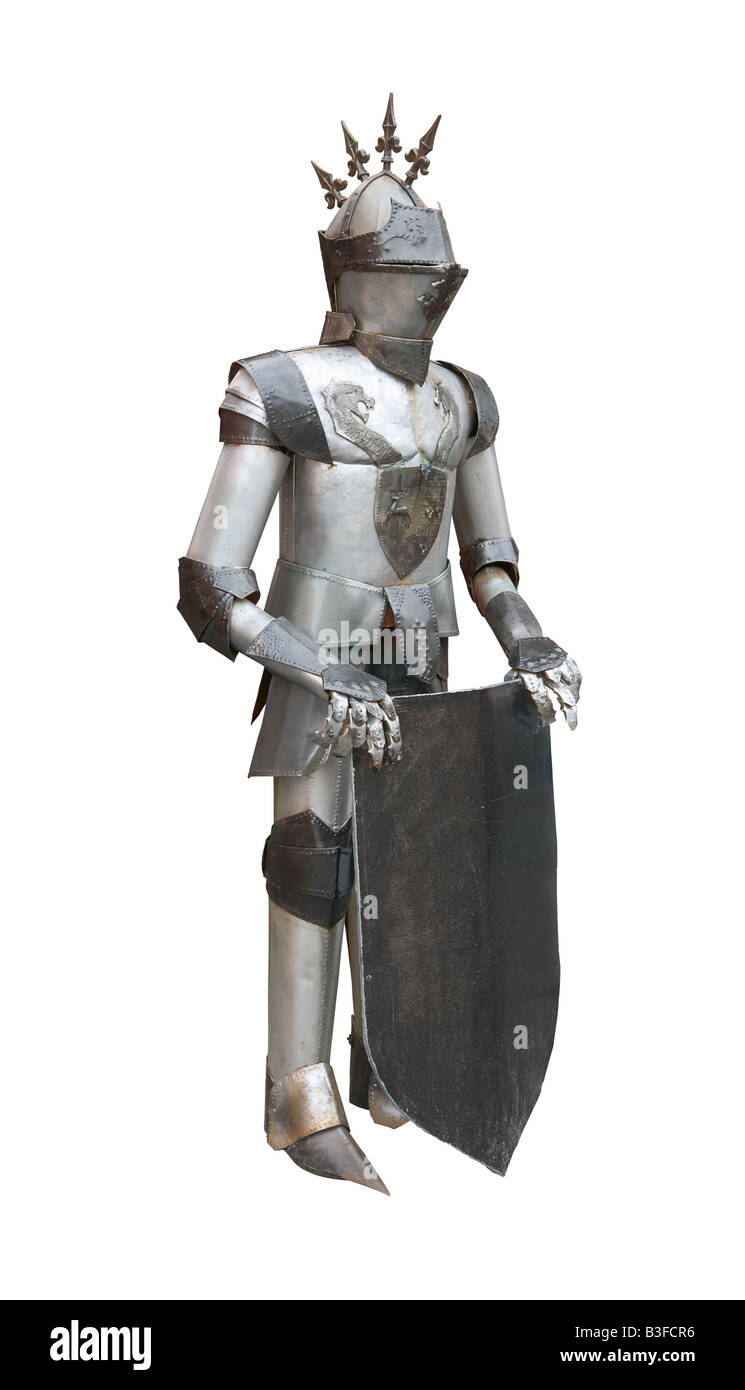 Real medieval knight armor isolated on white background - Stock Image