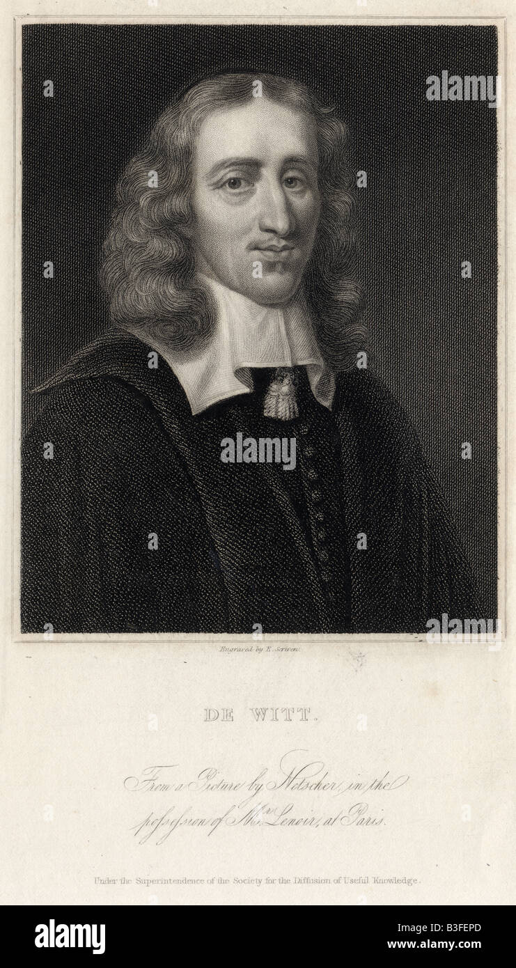 Antique engraving of Johan de Witt. - Stock Image