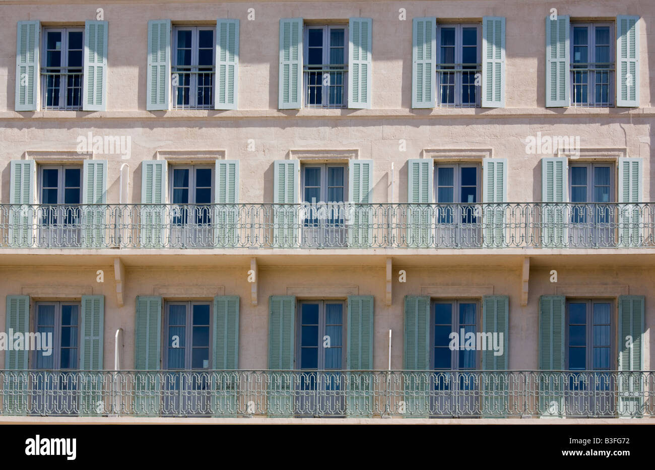 shuttered windows and balconies, Avignon, Provence, France - Stock Image