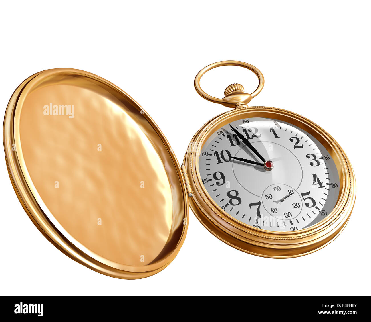 Isolated illustration of an open gold pocket watch - Stock Image