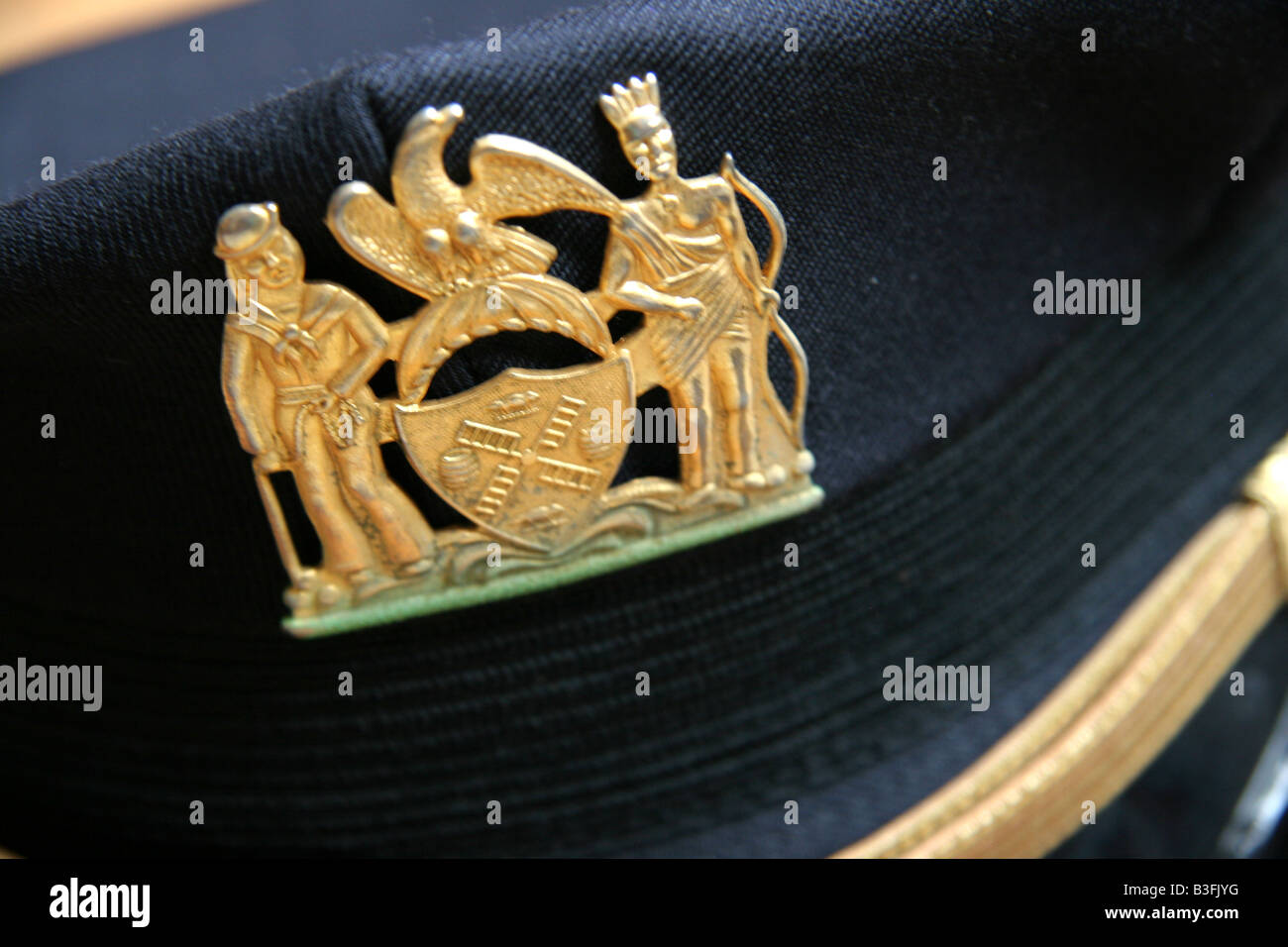 NYPD cap badge on a New York Police Department supervisors hat - Stock Image