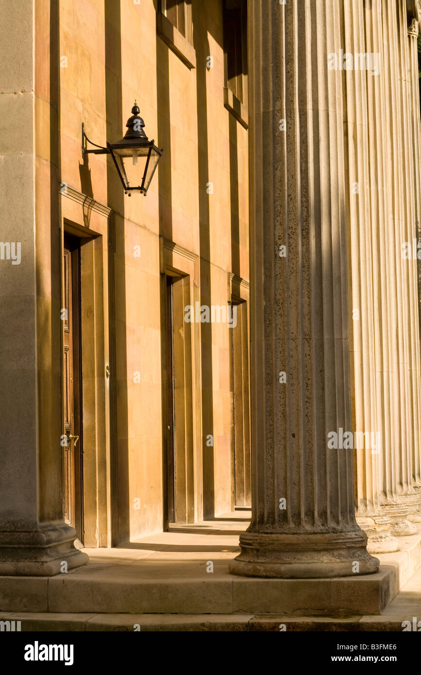 Columns of the Master's Lodge, Downing College, Cambridge, England in afternoon sunshine - Stock Image