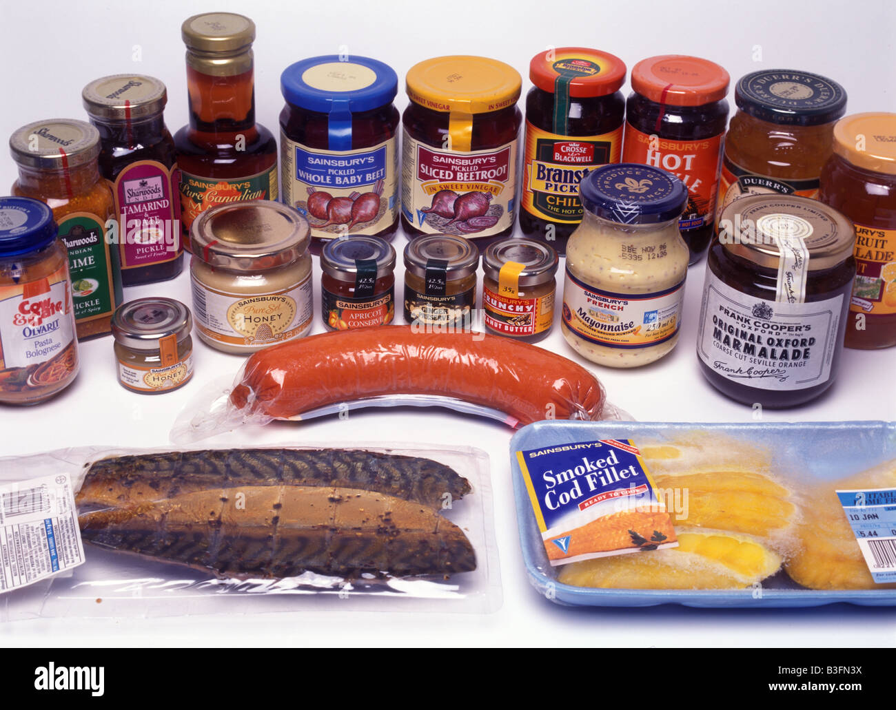 A variety of preserved food Stock Photo
