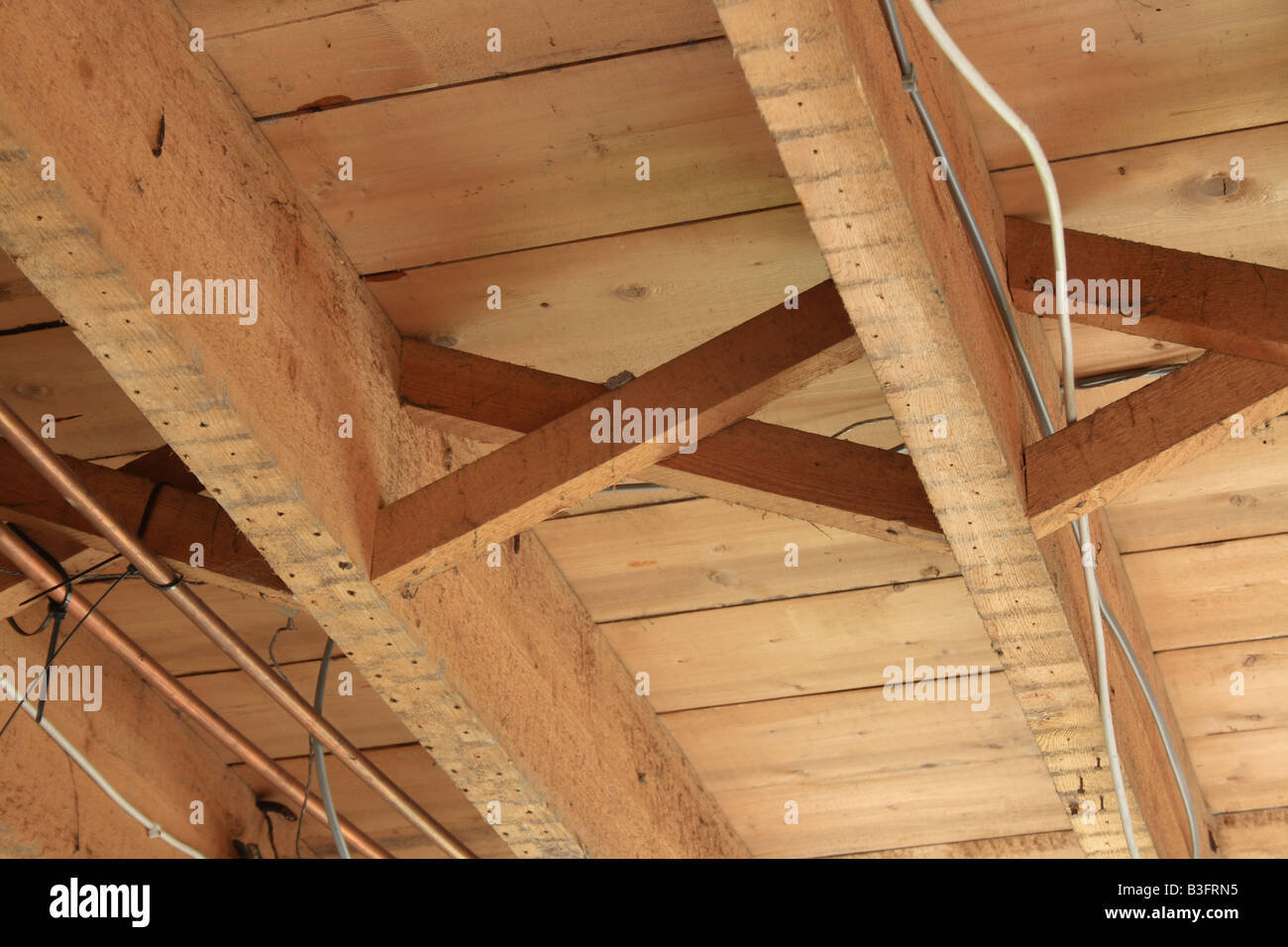 Cross Bracing In An Upstairs Timber Floor Of A 1930s House