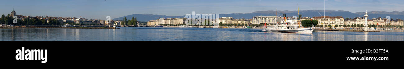 A panorama of Geneva, Switzerland lake side (  Lac leman ). - Stock Image