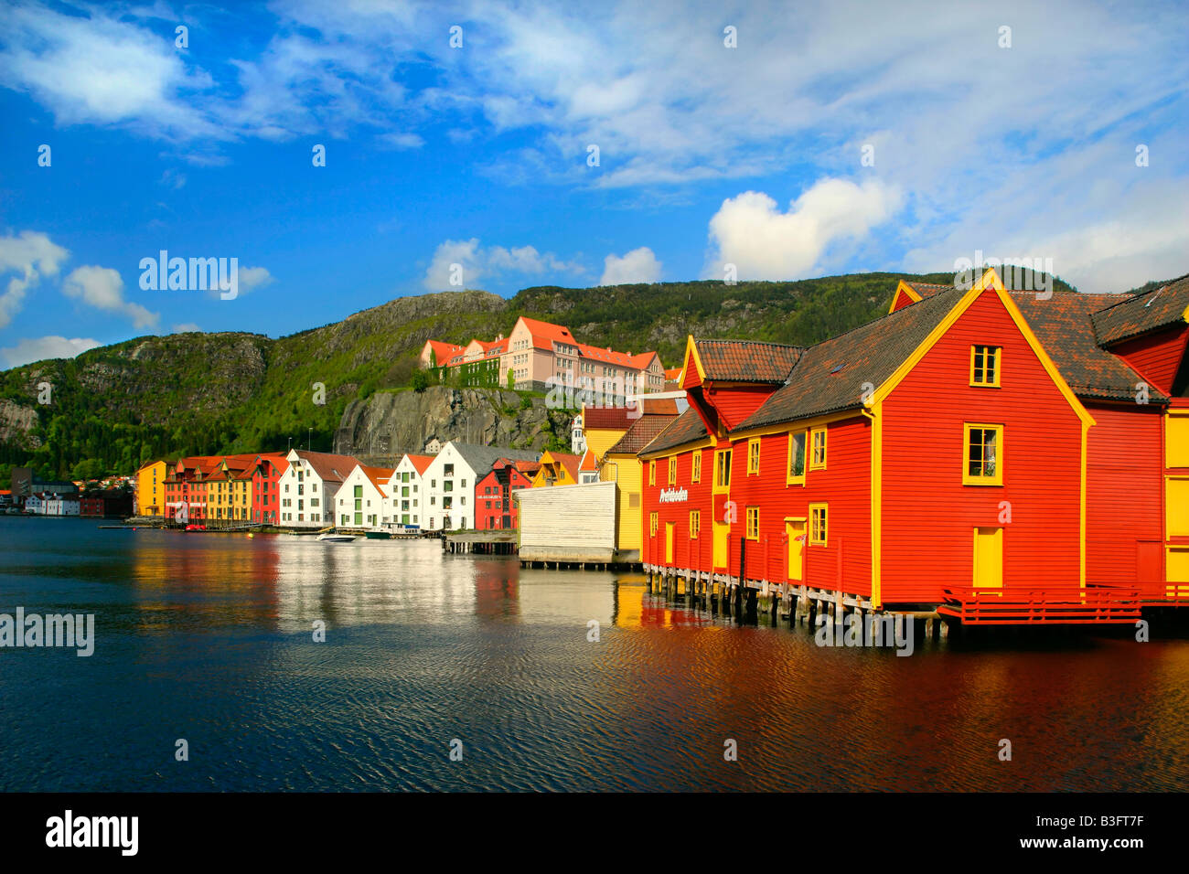 wooden houses colourful historic trade and warehouses in Bergen Bergen Norway Stock Photo