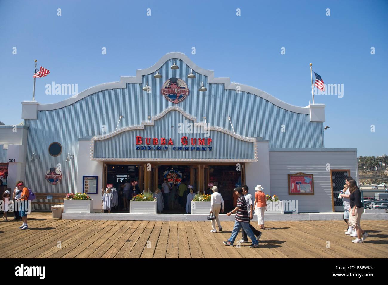 Bubba Gumps Seafood Restaurant Santa Monica Pier Los Angeles Stock