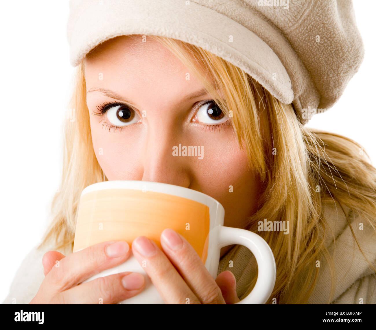 woman drinking tea - Stock Image