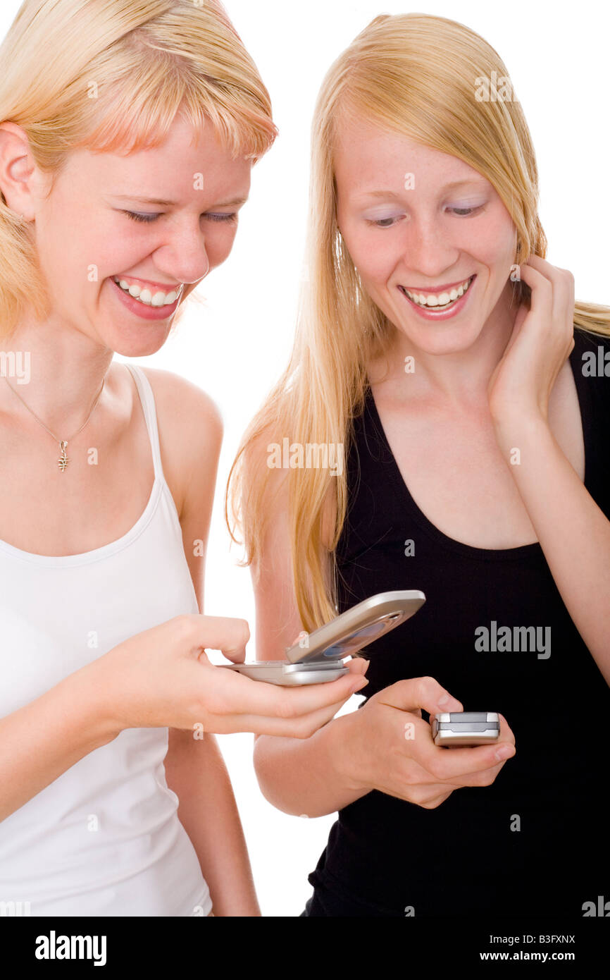 girls with mobile - Stock Image