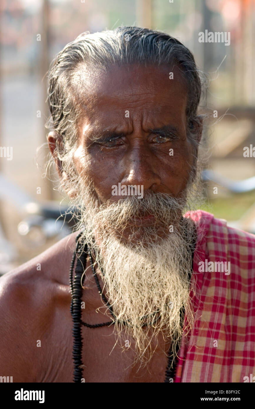 portrait of an old indian man andaman Islands india - Stock Image