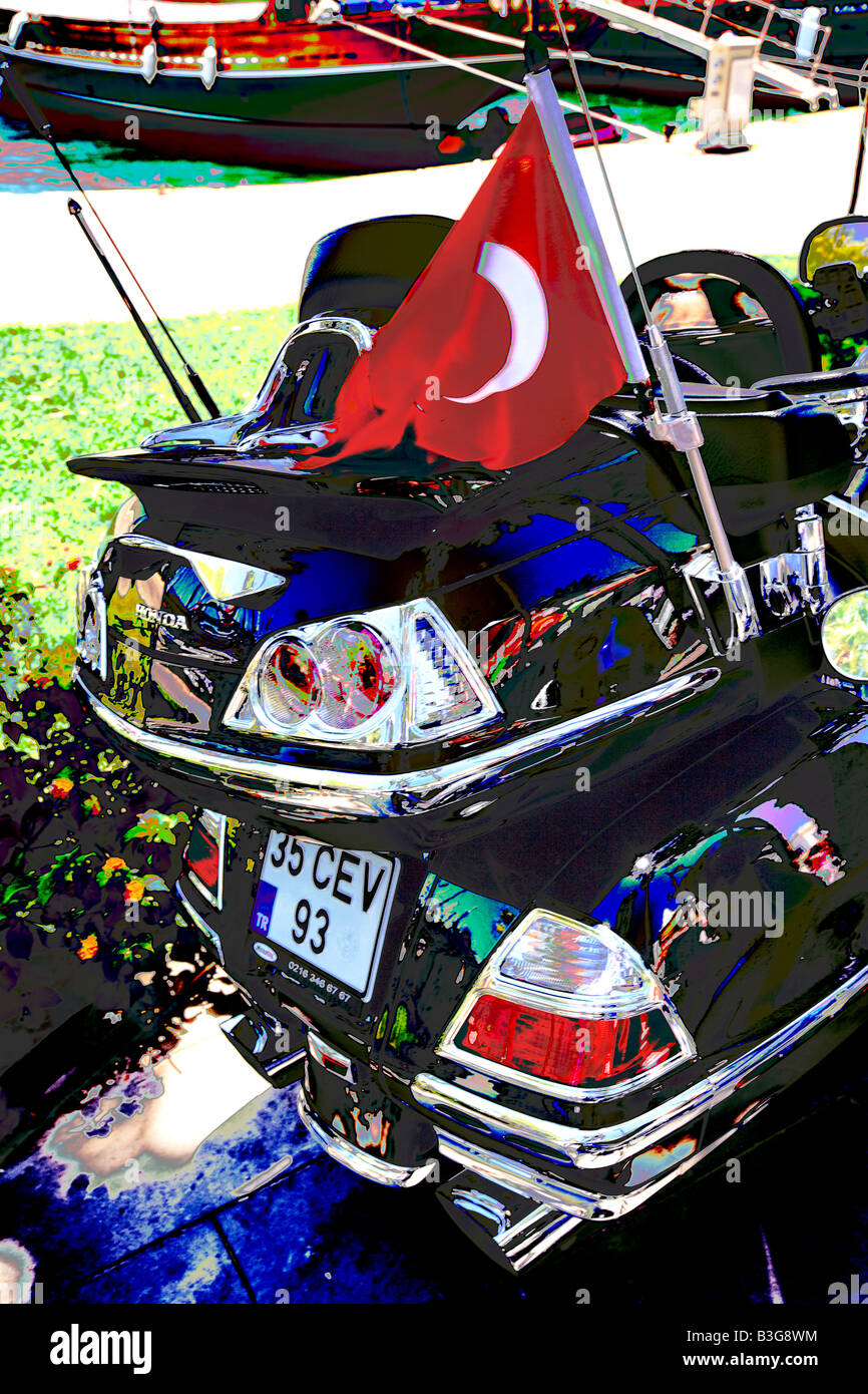 Stylised treatment of Motorbike, Bodrum, Turkey - Stock Image