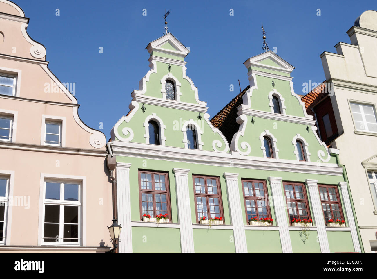 Doppelgiebelhaus in Wismar Deutschland Double gable house in Wismar Germany - Stock Image