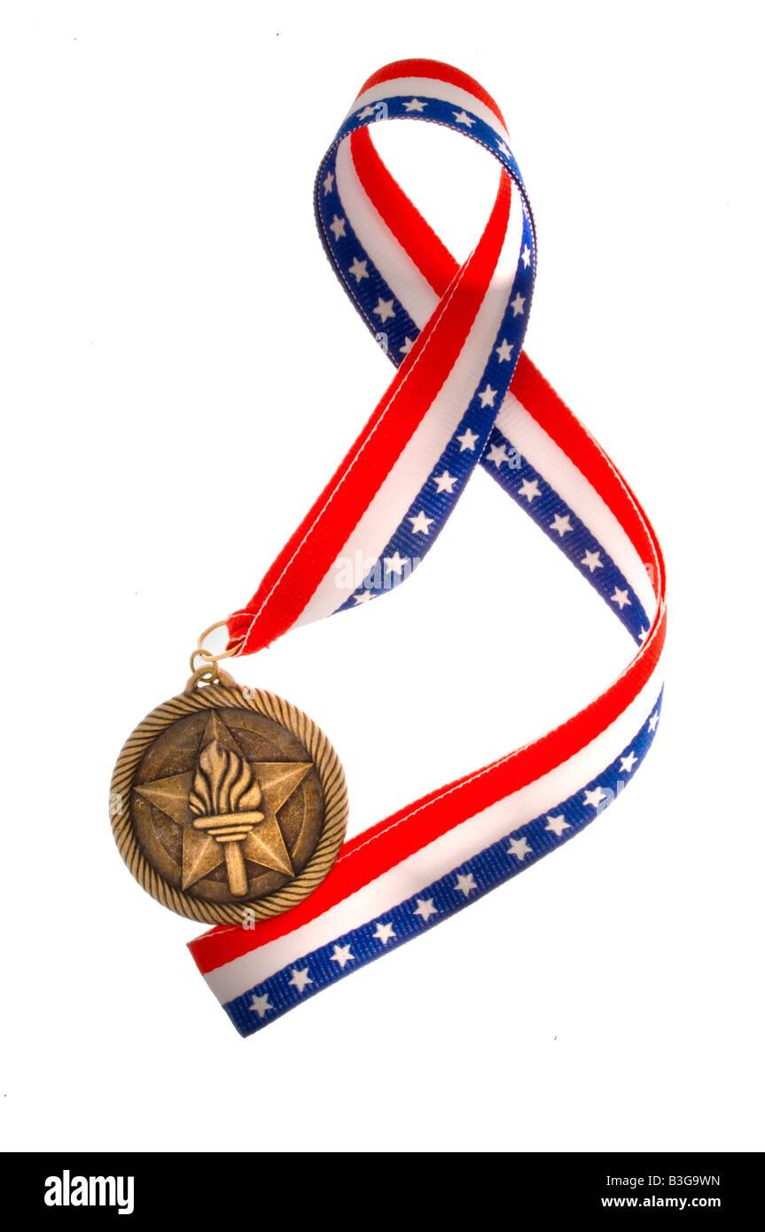 Award and ribbon on white - Stock Image