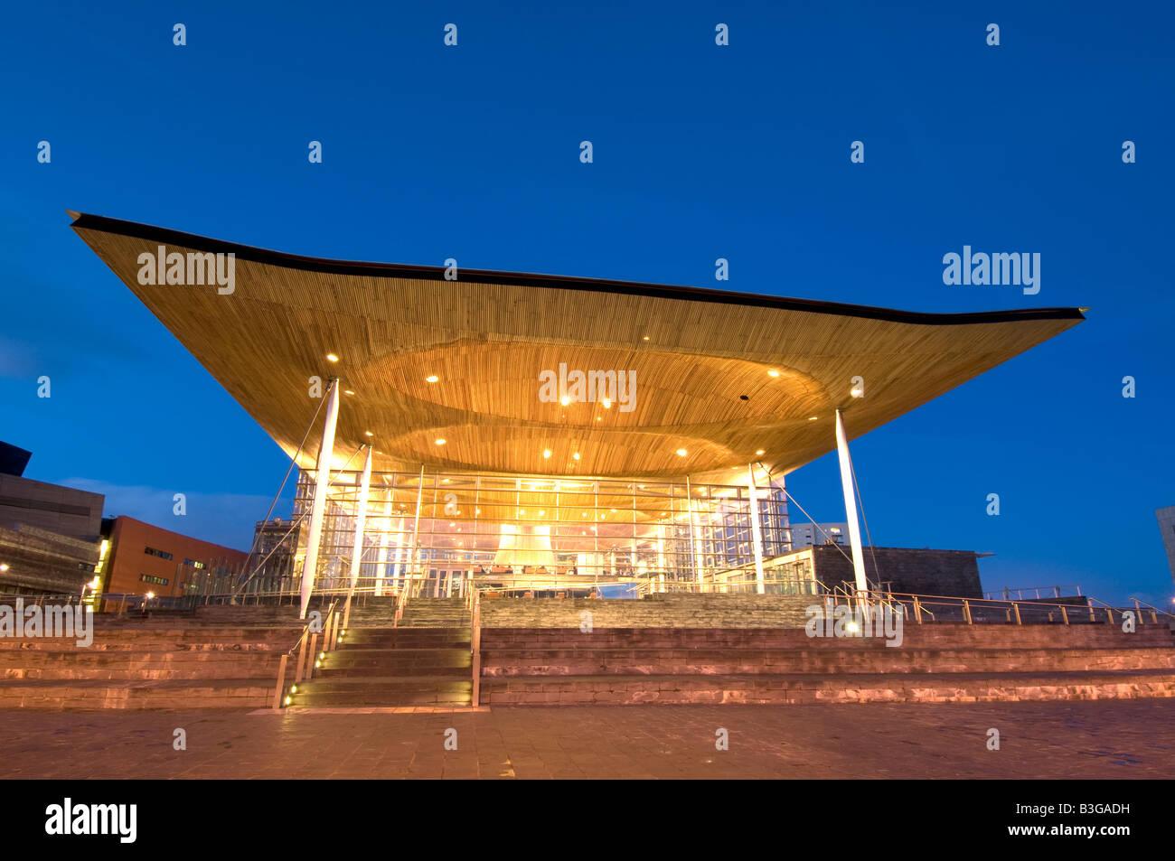 Welsh Assembly Senedd Building at night. Stock Photo