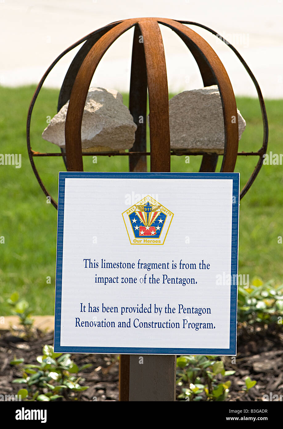 Limestone fragment from the Pentagon in Washington DC at the 9-11 Aircrew Memorial in Grapevine, TX - Stock Image