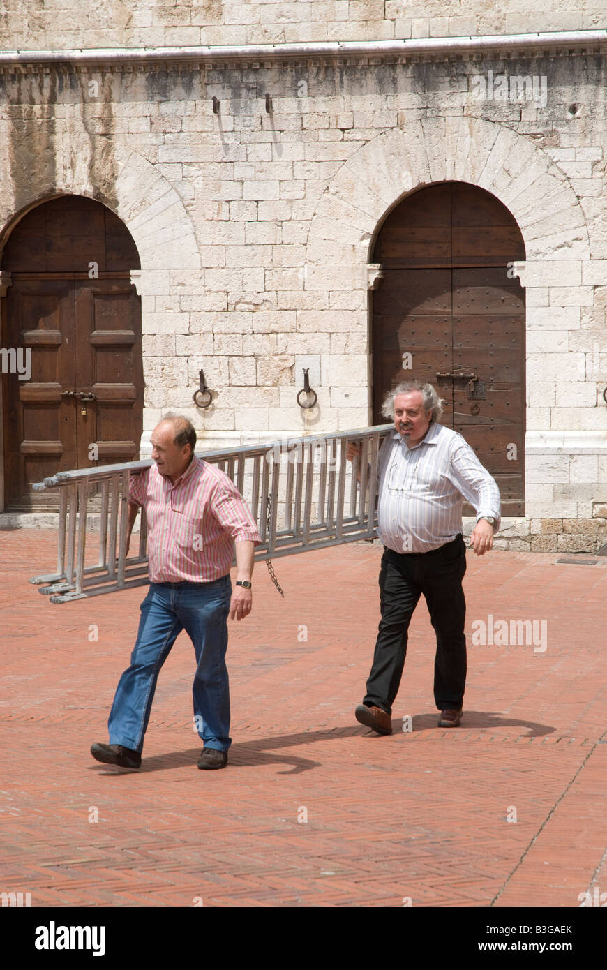 two men carrying a ladder - Stock Image