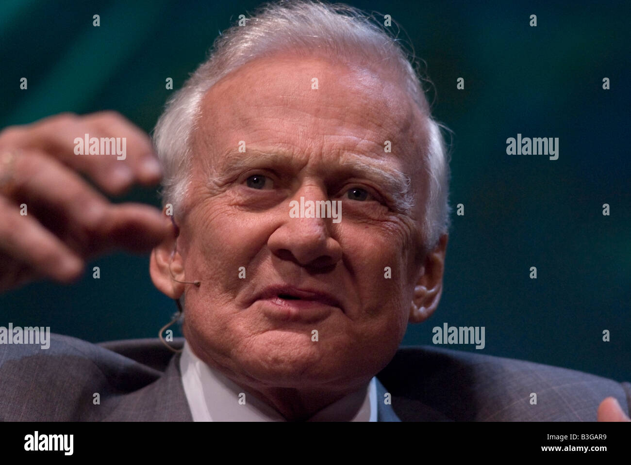 Astronaut Buzz Aldrin, who walked on the moon in 1969 during the Apollo 11 space mission, talking during a conference - Stock Image