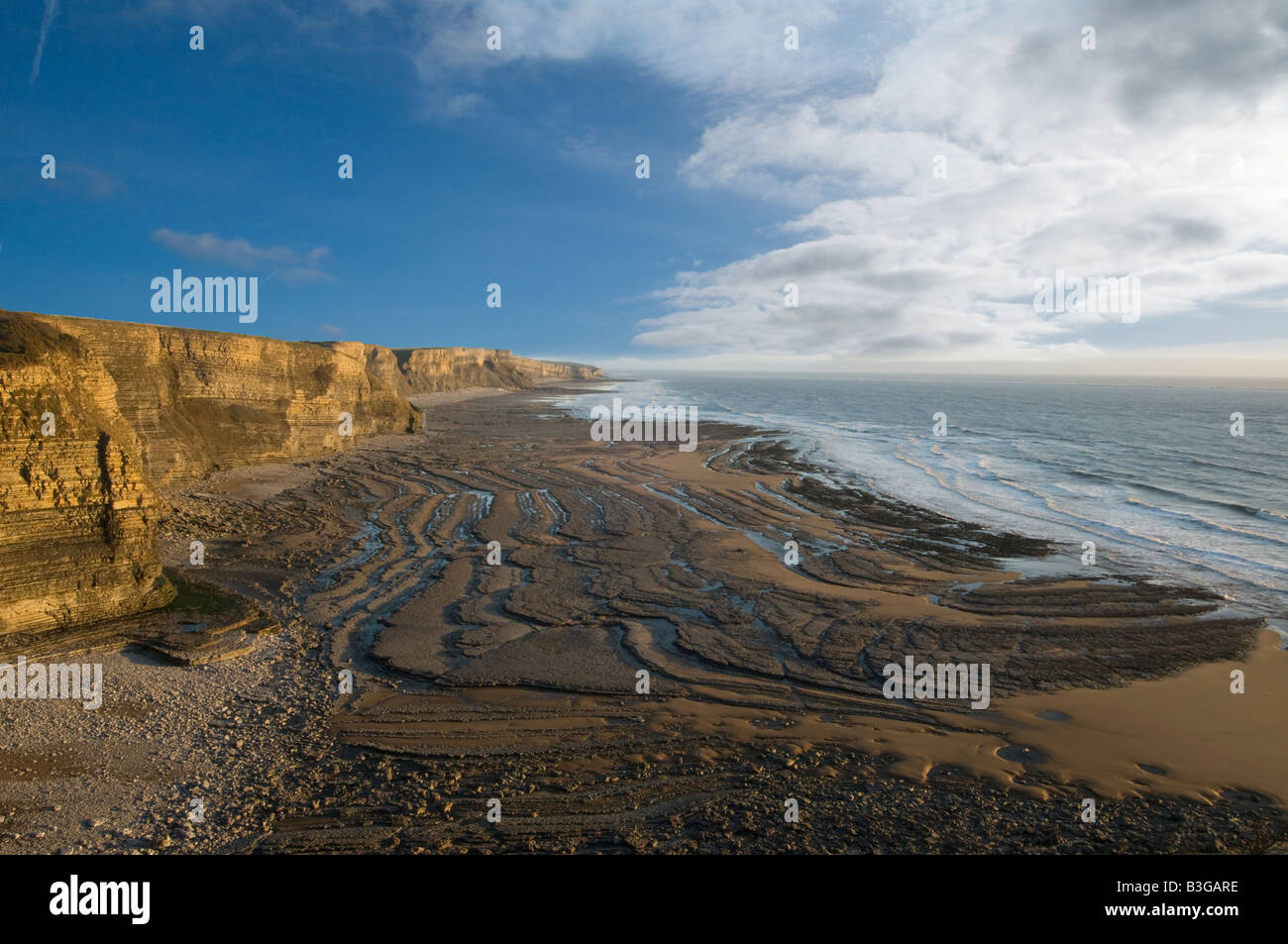 Glamorgan Heritage coast looking southeast from Witches Point - Stock Image