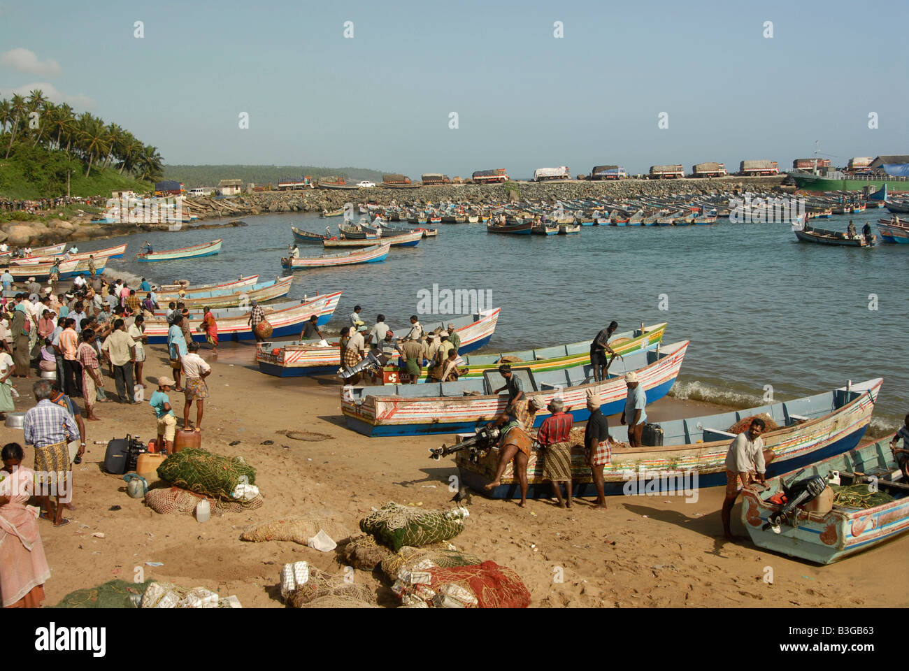 People at Vizhinjam Harbour in Kerala,India - Stock Image