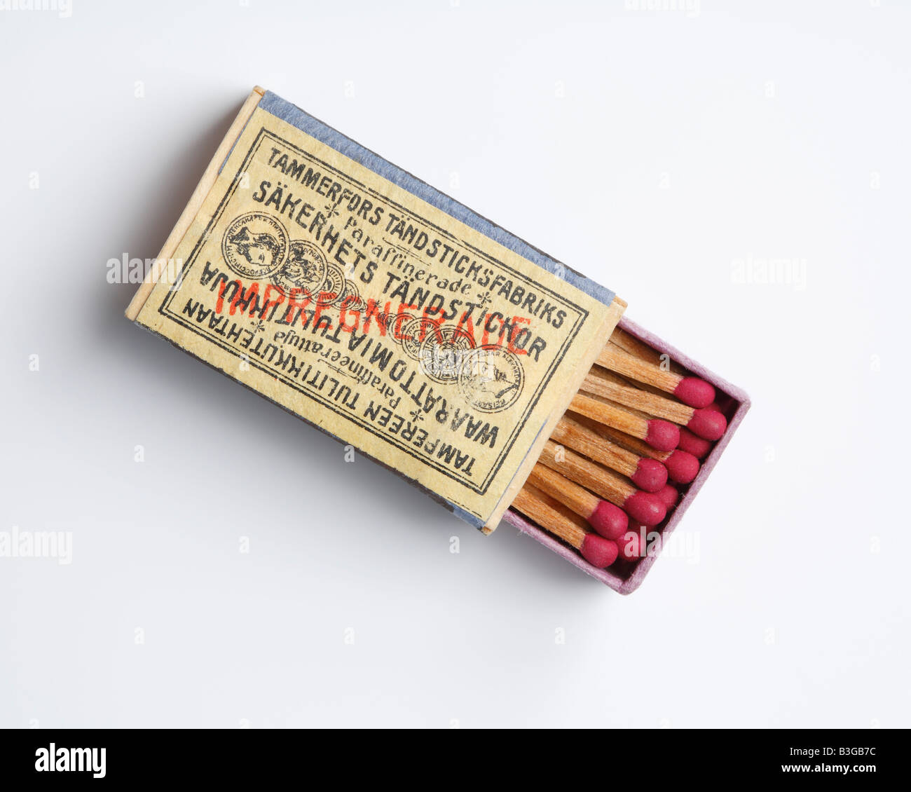 Old box of safety matches manufactured in Tampere Finland in 19th century - Stock Image