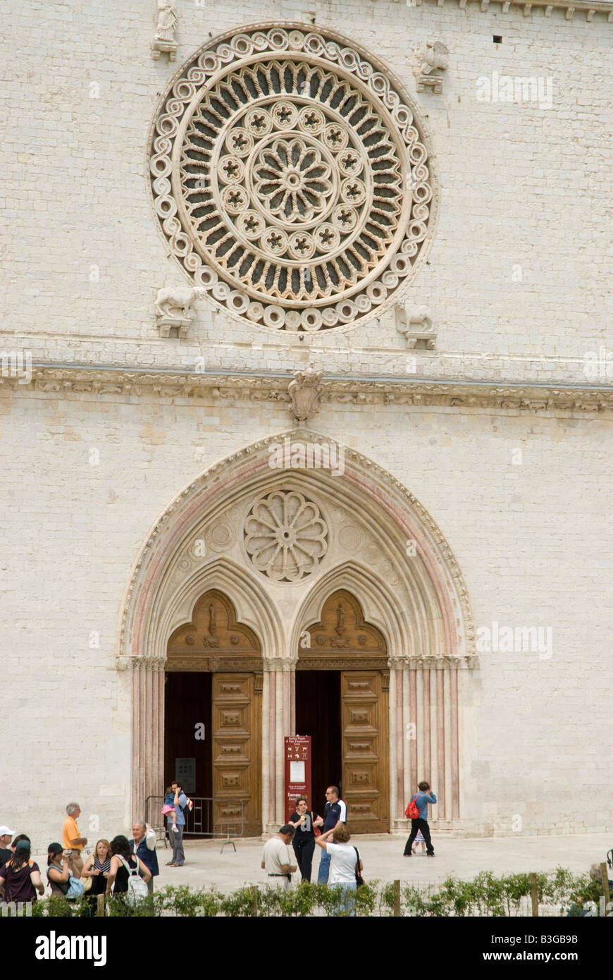 Basilica of St. Francis, Assisi. The Franciscan monastery (Sacro Convento) and the lower and upper church (Basilica Stock Photo