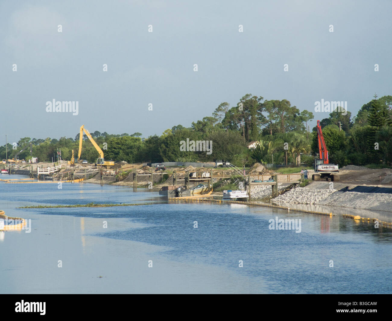 canal bank improvement reinforcement - Stock Image