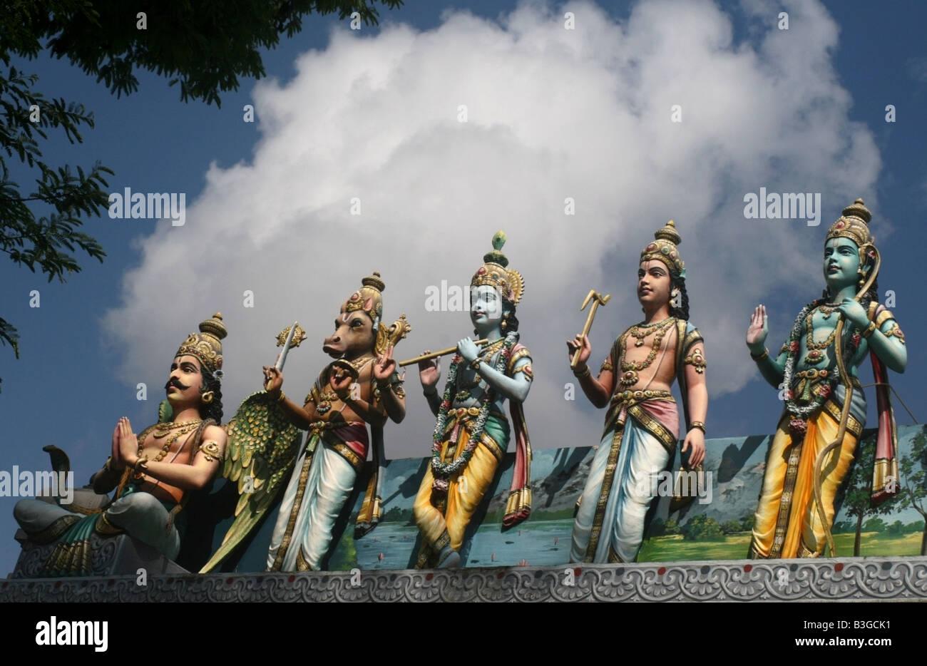 Vishnu avatar statues , Sri Srinivasa Perumal Temple , Singapore , South East Asia - Stock Image