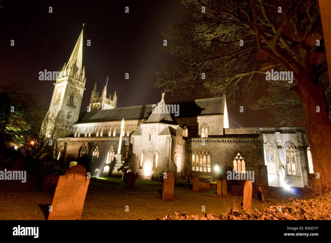 Llandaff Cathedral, Cardiff. Stock Photo