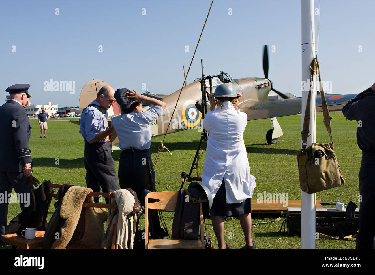 Battle of Britain Scramble at RAFA Charity Airshow Shoreham Airport Sussex England - Stock Image