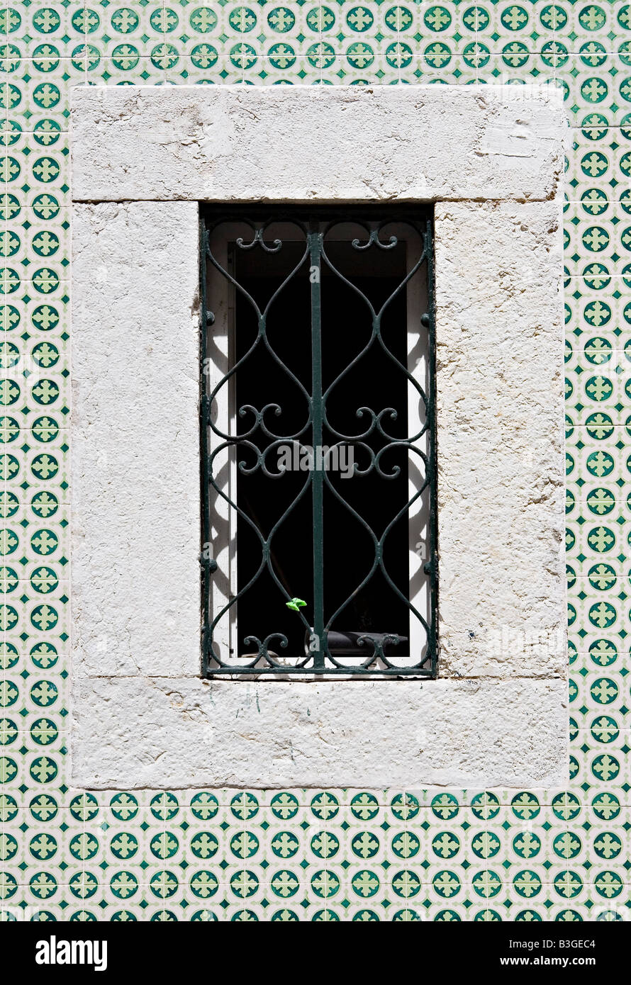Azulejos tiles in Lisbon Portugal - Stock Image
