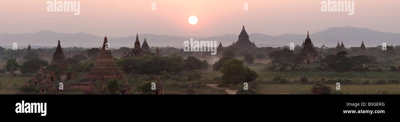 sunset panoramic view of Bagan area, Myanmar. - Stock Image