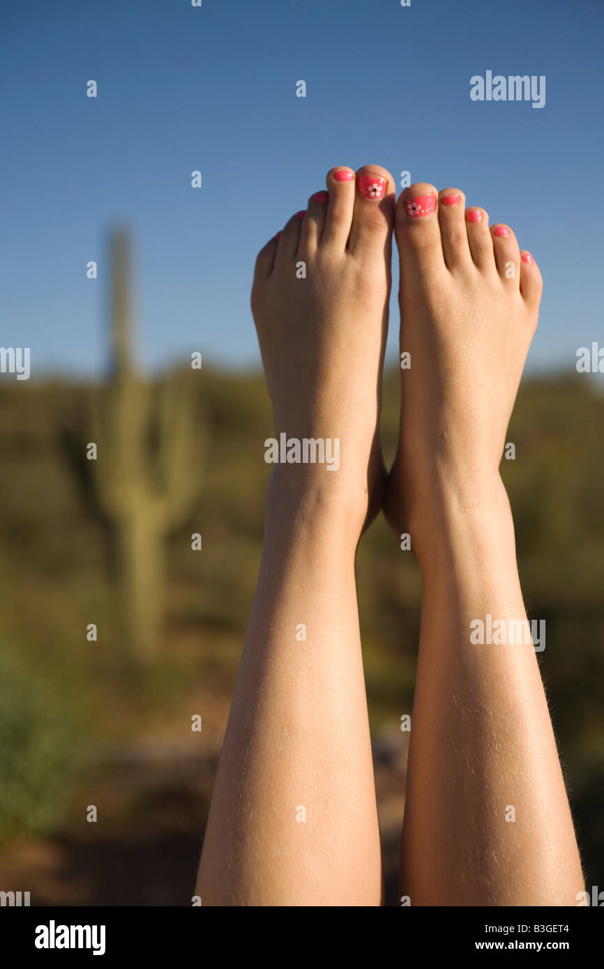 Feet of Girl in Desert Phoenix Arizona - Stock Image
