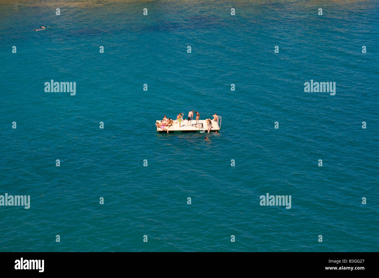A platform for swimmers in the bay of Banyuls sur Mer in Southern France - Stock Image