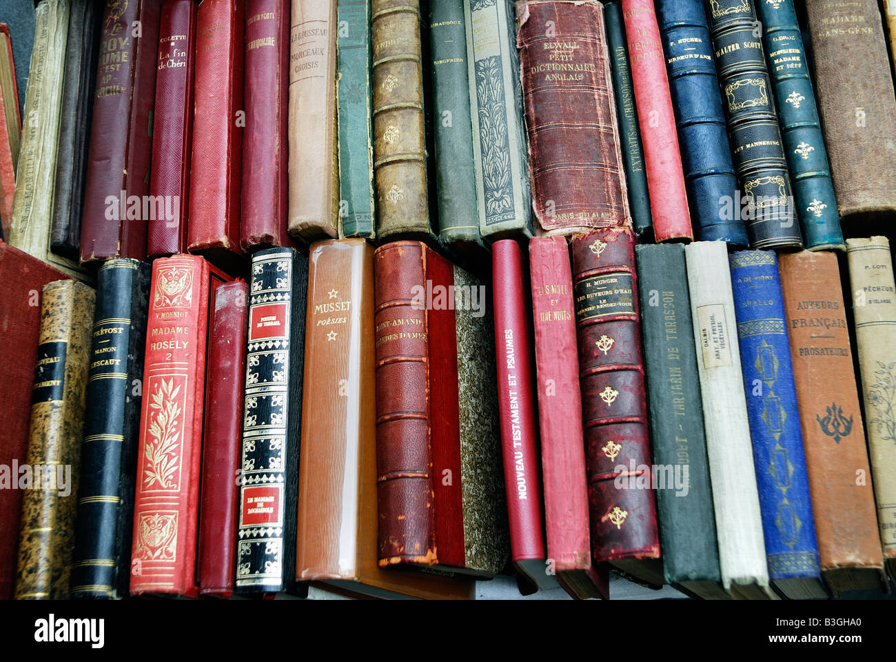 Paris France, Shopping 'Flea Market' Collectible 'French Language' Books on Display in 'Public - Stock Image