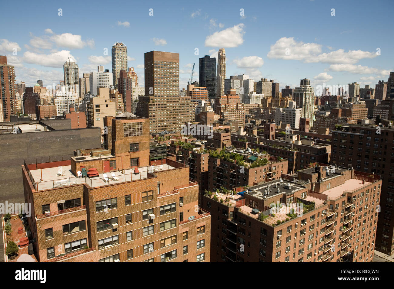 Upper East side in Manhattan from York Avenue at the junction with 62nd street - Stock Image