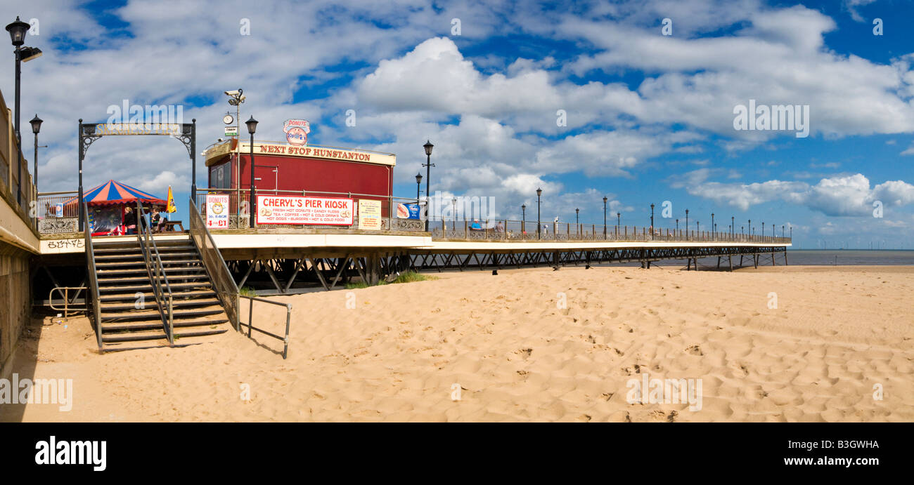 Skegness Pier on the beach at Skegness, Lincolnshire, England, UK - Stock Image