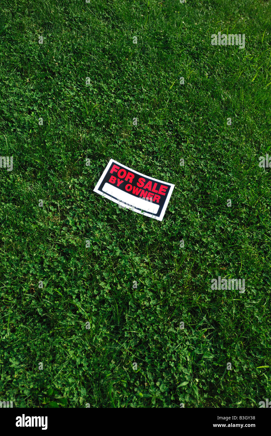 For sale by owner sign on green grass - Stock Image