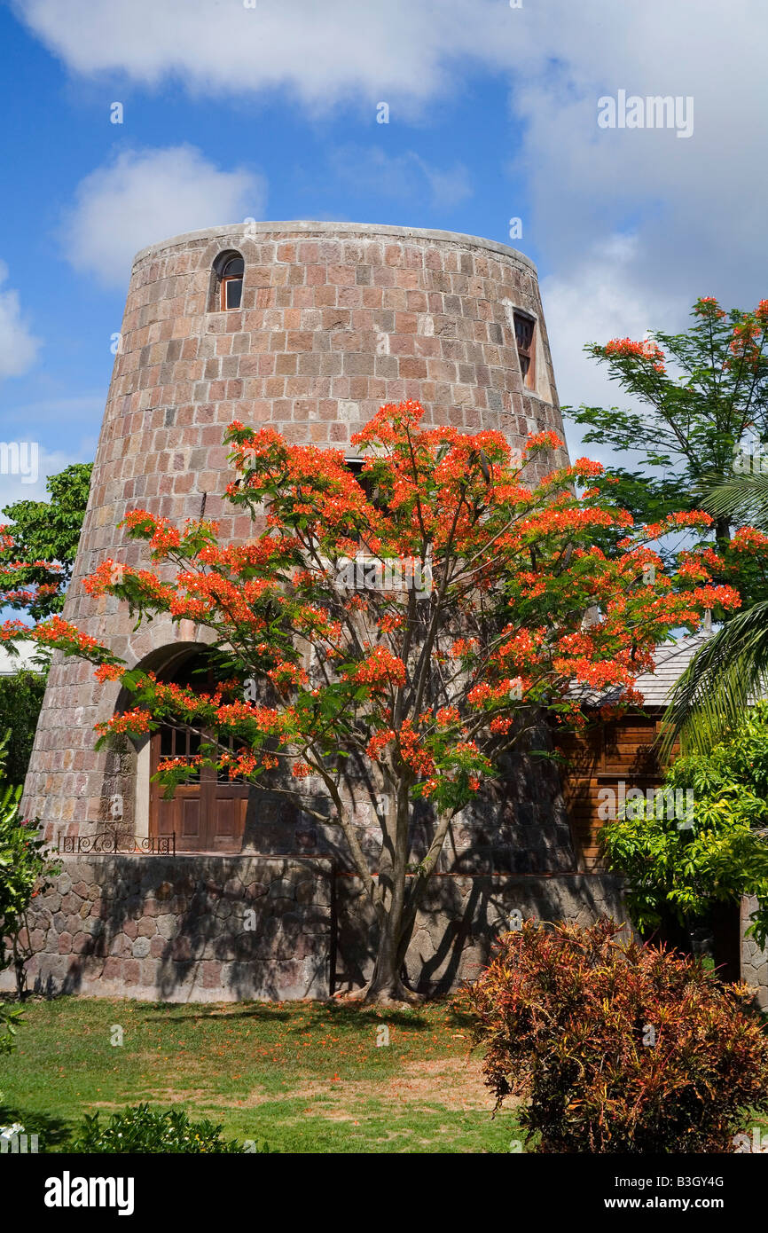 Sugar Mill converted cottage in Nevis in the Caribbean - Stock Image